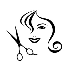 Woman and scissors design for hair salon vector image