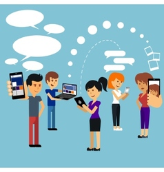 Young people man and woman using technology gadget vector