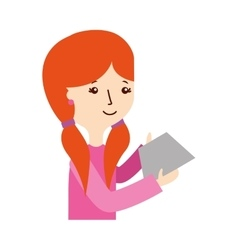 Young woman with letter character vector