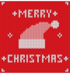 Christmas Card with knitted texture vector image