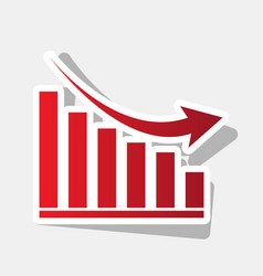declining graph sign new year reddish vector image