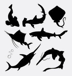 fish animal stingray shark swordfish silhouette vector image