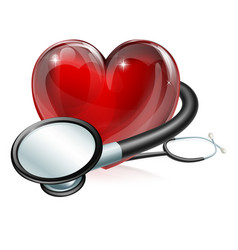 heart symbol and stethoscope vector image vector image
