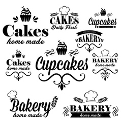 Set of black bakery logos vector image