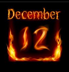 twelfth december in calendar of fire icon on vector image vector image