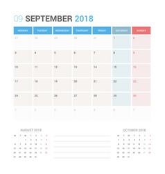 calendar planner for september 2018 vector image vector image