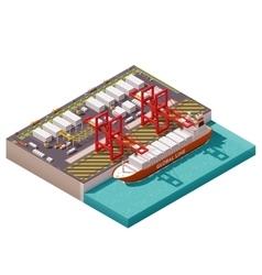 isometric cargo port vector image vector image