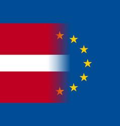 Latvia national flag with a star circle of eu vector