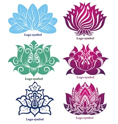 Lotus silhouettes for design vector image