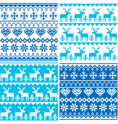 winter pattern cross stitch collection winter sea vector image vector image