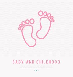 baby feet thin line icon vector image
