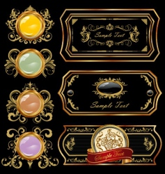 decorative gold label vector image vector image