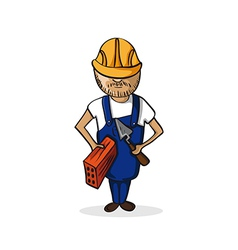 Profession construction worker cartoon figure vector image