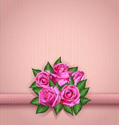 Roses postcard pink vector image vector image