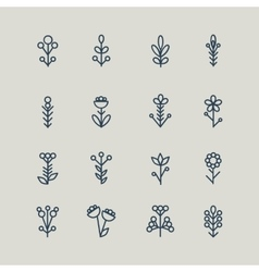 Set of abstract line icons flowers vector image vector image