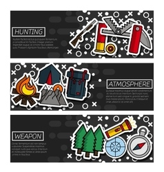 Set of Horizontal Banners about hunting vector image