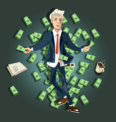 businessman lying on the money vector image