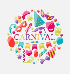 Festive banner with carnival colorful icons vector image