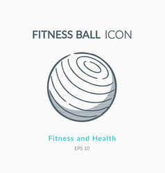 fitness ball icon on white background vector image vector image