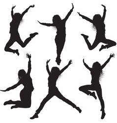 Jumping Female Silhouette Set vector image vector image