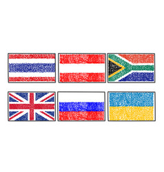 set flags of the world icon in cartoon scribble vector image