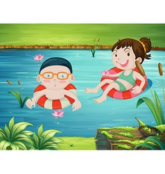 Two kids swimming in the river vector image