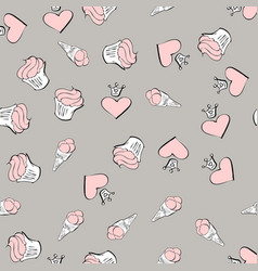valentines day seamless pattern with red vector image