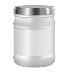 white blank cosmetic with silver lid mockup vector image
