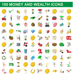 100 money and wealth icons set cartoon style vector image