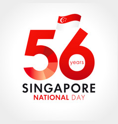 56 years anniversary singapore national day vector image