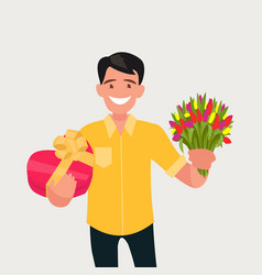 a man with a bouquet flowers and a gift vector image