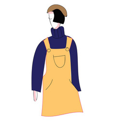 abstract portrait of a girl in yellow overalls vector image