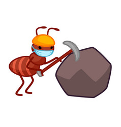 Adorable little ant with a pickaxe is hitting vector