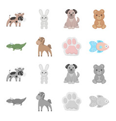 an unrealistic cartoonmonochrome animal icons in vector image