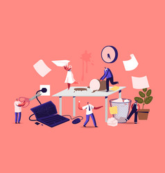Anxious business characters in chaos office vector