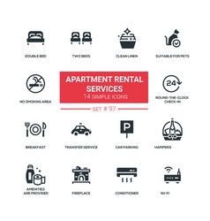 apartment rental service - flat design style icons vector image