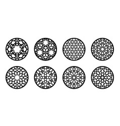 arabesque circle round element set for laser vector image