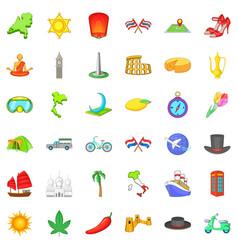 Around the world icons set cartoon style vector