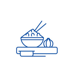 asian food line icon concept asian food flat vector image