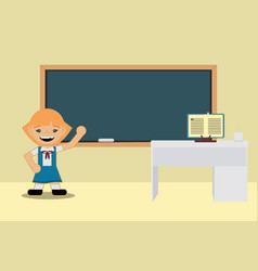 Back to school classes student girl in school vector