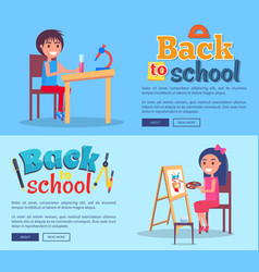 back to school posters set with girl and boy vector image