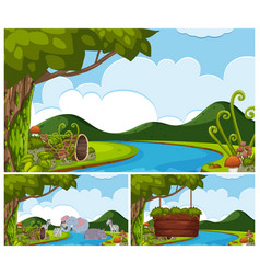 Background scenes with animals by the river vector