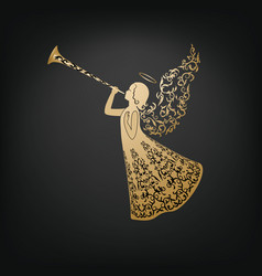 Beautiful angel with ornamental wings and trumpet vector