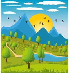 Beauty landscape with mountain background vector image