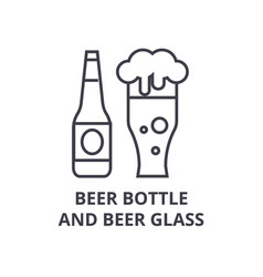 beer bottle and beer glass line icon outline sign vector image