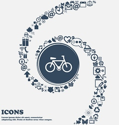 Bicycle icon in the center Around the many vector