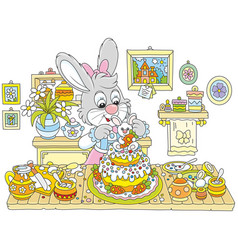 Bunny cooking an easter cake vector