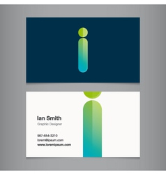 Business card letter i vector