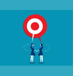 Businesswoman talking with shared target speech vector