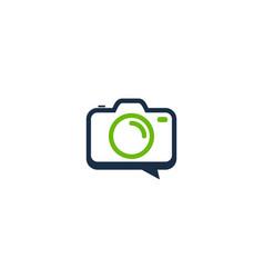 camera chat logo icon design vector image